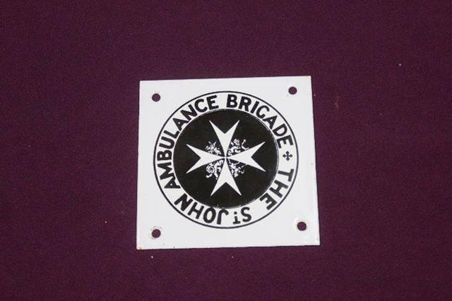 Small St John Ambulance Brigade Enamel Sign
