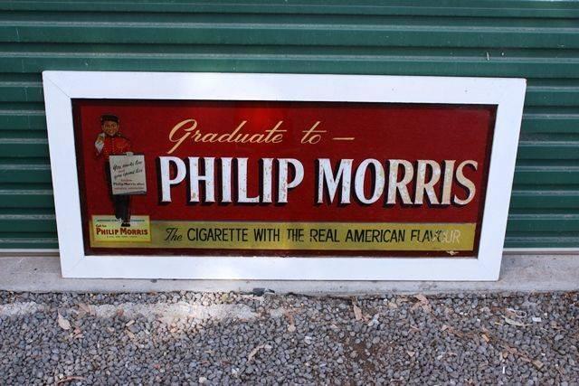 Framed Phillip Morris Cigarette Advertising Glass