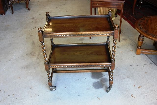 Early C20th Oak Barley Twist Tea Trolley
