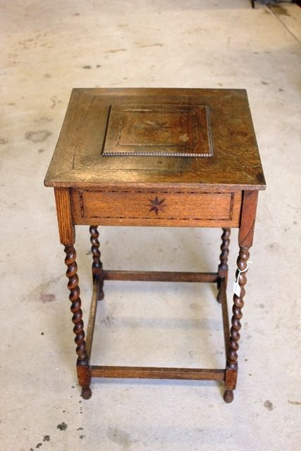 Edwardian Oak Inlaid Sewing Table