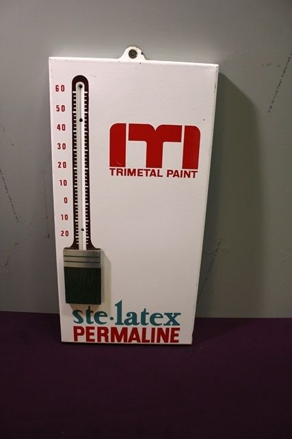I T I  Paint Brush Pictorial Thermometer Enamel Sign