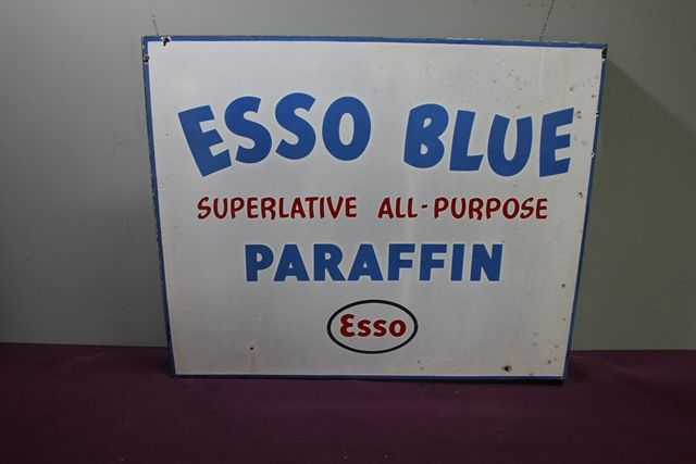Esso Blue Paraffin Double Sided Enamel Sign