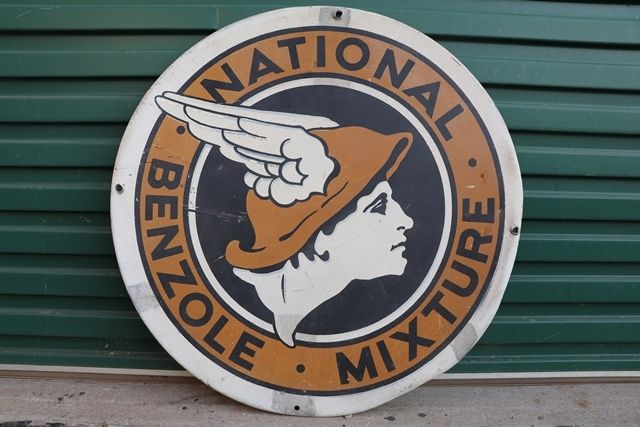National Benzole Mixture Double Side Advertising Sign