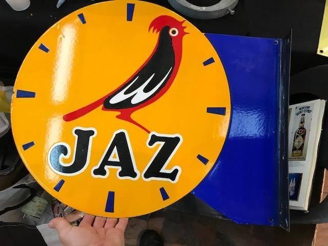ARRIVING NOVEMBER Jaz Clock Enamel Advertising Sign