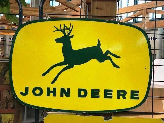 ARRIVING NOVEMBER John Deere Enamel Advertising Sign