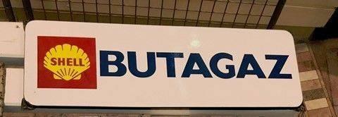 ARRIVING NOVEMBER Shell Butagaz Enamel Advertising Sign