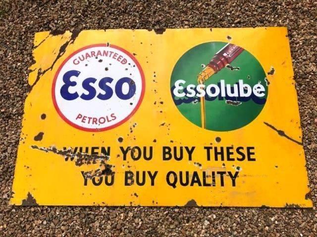ARRIVING NOVEMBER Essolube Enamel Advertising Sign