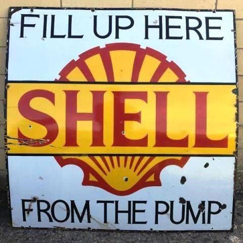 ARRIVING NOVEMBER Shell Pump Enamel Advertising Sign