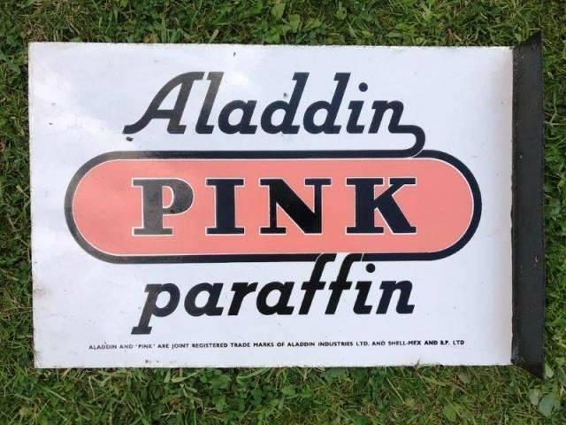 ARRIVING NOVEMBERAladdin Pink Paraffin Advertising Sign