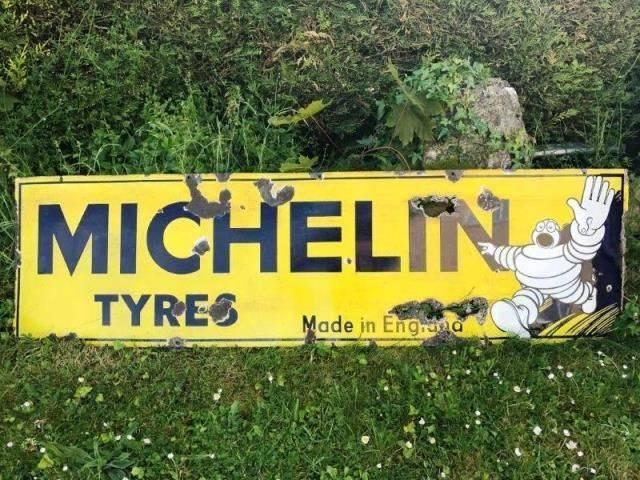ARRIVING NOVEMBERMichelin Tyres Enamel Advertising Sign