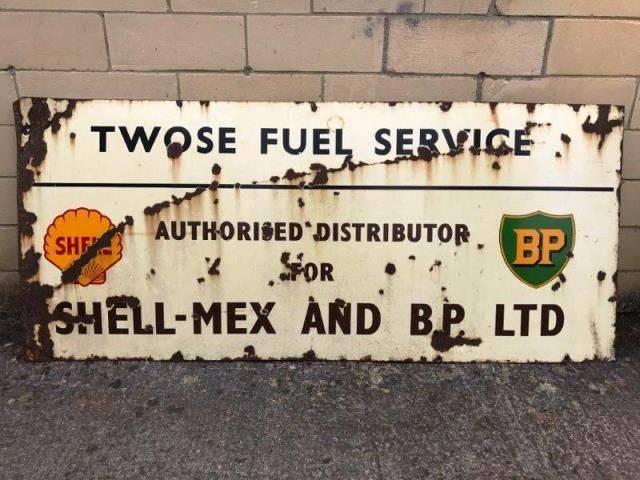 ARRIVING NOVEMBERShell And BP Enamel Advertising Sign
