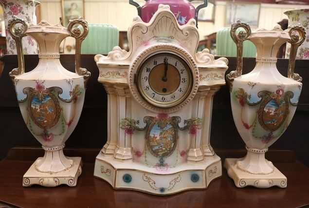 Edwardian 3pc China Clock Set