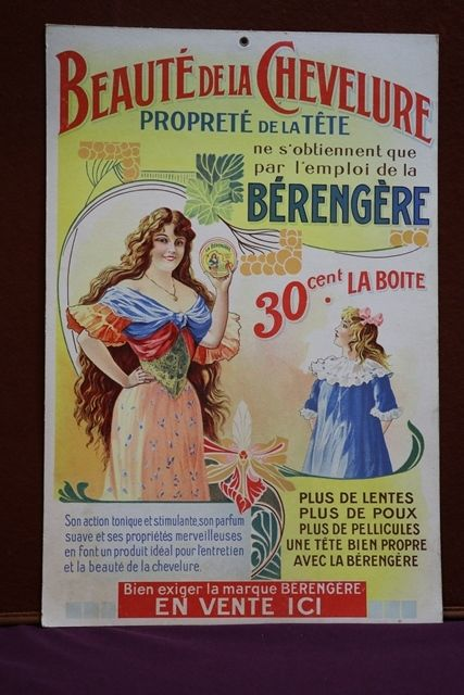 Beaute De La Chevelure Cardboard Advertising Sign