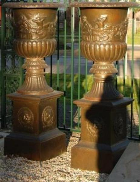 Pair of Versaille Cast Iron Urns and Bases --- CI 42