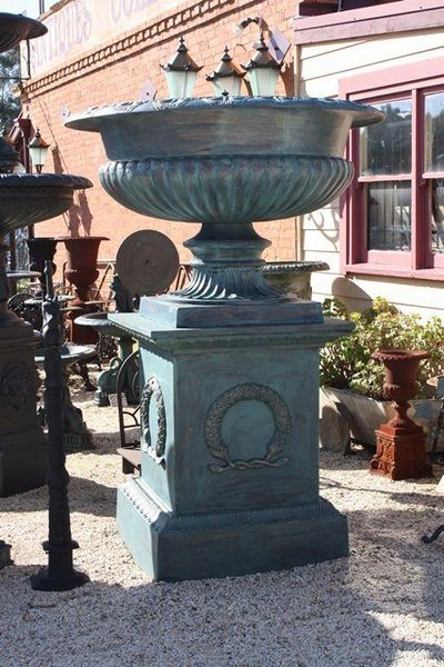 Cat Iron Large Urn And Base
