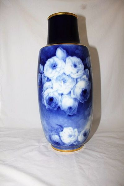French Limoges Flo Blue Vase