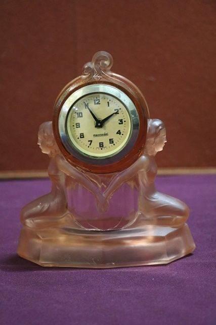 Art Deco Pink Glass Clock