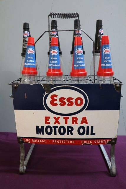 Original Enamel Sign Esso Extra Motor Oil 8 Bottle Oil