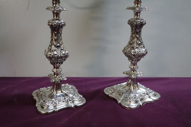 A Quality Pair Of Antique Silver Plated 3 Branch Candelabras