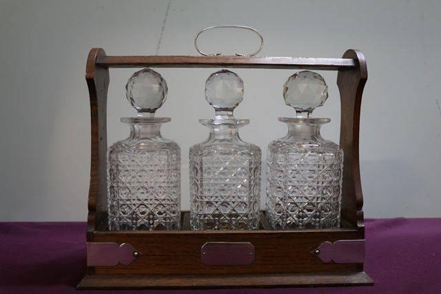 Cut Glass 3 Bottle Tantalus andquotoak Caseandquot C1920