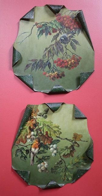 Pair Of Toleware Painted Plaques By TMaynard C1920