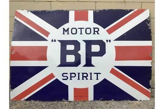 BP Motor Spirit Union Jack Enamel Sign