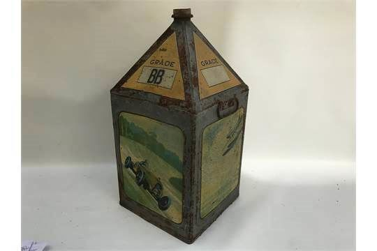 Gamages Pyramid Top Pictorial Fuel Tin