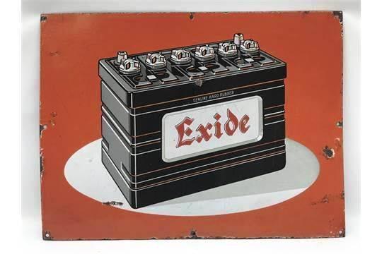 Excide Battery Pictorial Enamel Sign