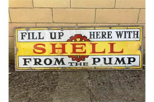 Early Shell From The Pump Enamel Sign