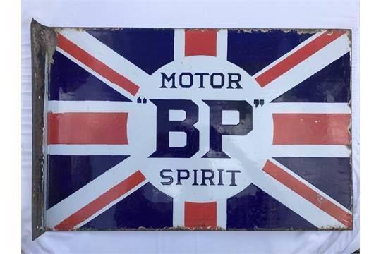 BP Motor Spirit Union Jack Double Sided Enamel Sign