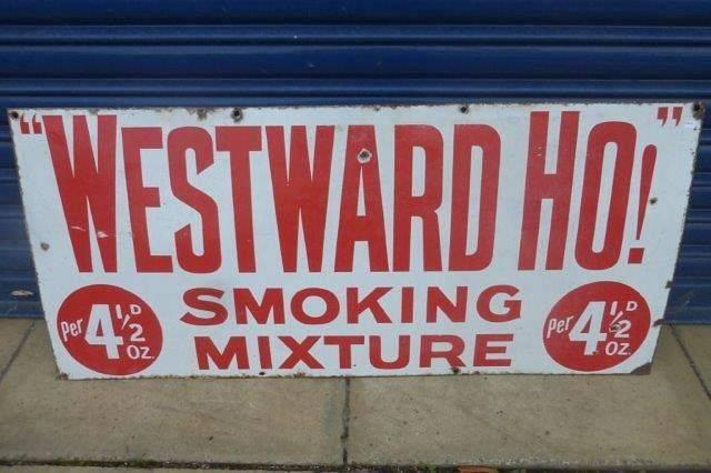 Early Westwood Ho Tobacco Enamel Sign