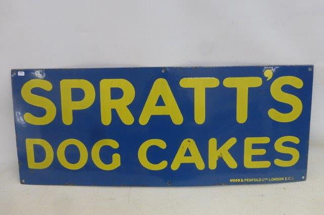 Early Sprattand96s Dog Cakes Enamel Sign