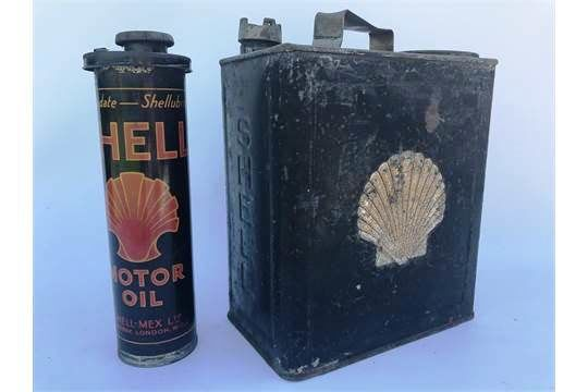 Shell Duo Fuel Can and Insert Oil Tin