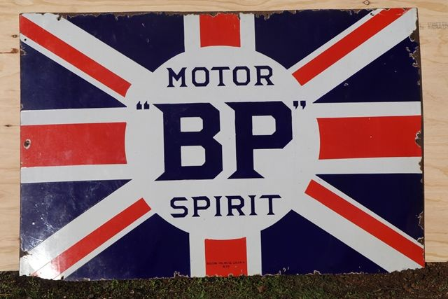 BP Motor Spirit Enamel Advertising Sign