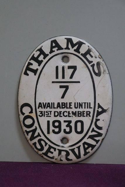 1930 Thames Conservancy Boat Licence Oval Enamel Plaque