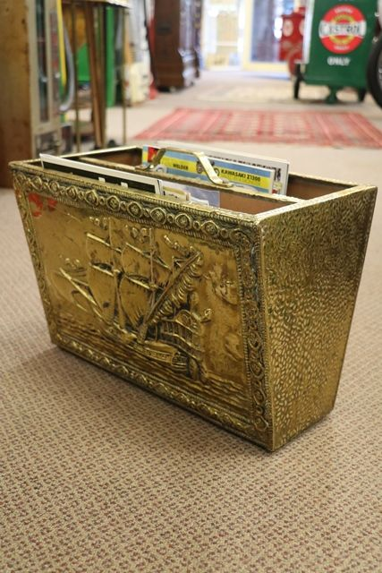 Vintage English Hammered Brass Magazine Rack