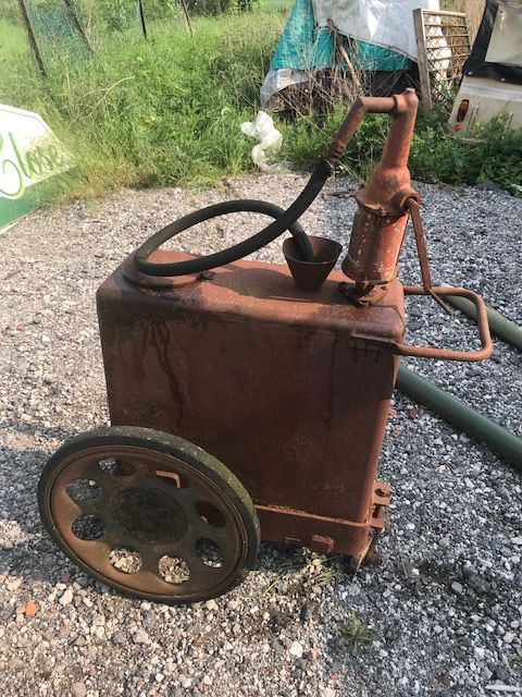 A Rare and Early Single Pump Oil Cart