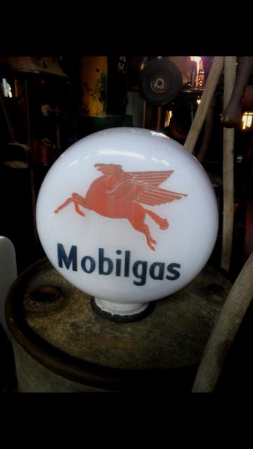 Genuine Mobilgas Glass Petrol Pump Globe