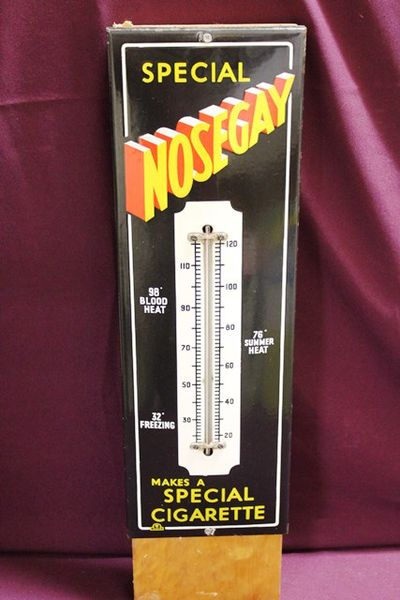 Nosegay Tobacco Enamel Advertising Thermometer