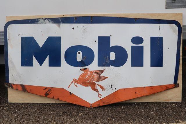 Large Mobil Enamel Advertising Sign Vacuum Oil Company