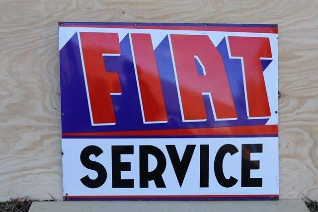 Fiat Service Enamel Advertising Sign