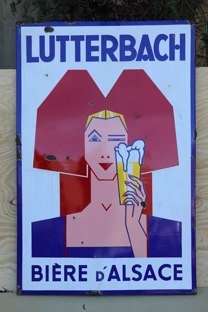Lutterbach Biere Dand39Alsace  Enamel French Beer Advertising Sign