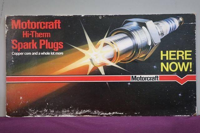 Motorcraft HiThem Spark Plugs Cardboard Advertising Sign