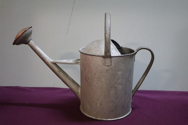Antique small Watering Can With Copper Rose