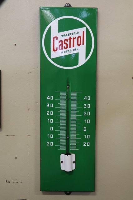 Wakefield Castrol andquotZandquot Enamel Advertising Thermometer Sign