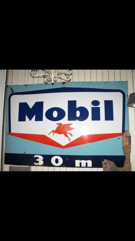 2019 Large Blue Mobil Pegasus Enamel Sign