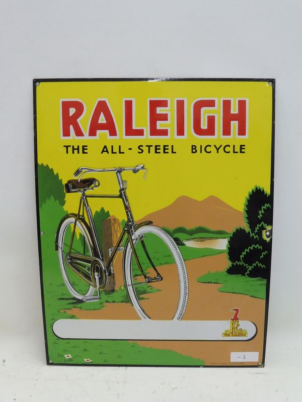 2019 Raleigh All Metal Cycle Pictorial Enamel Sign