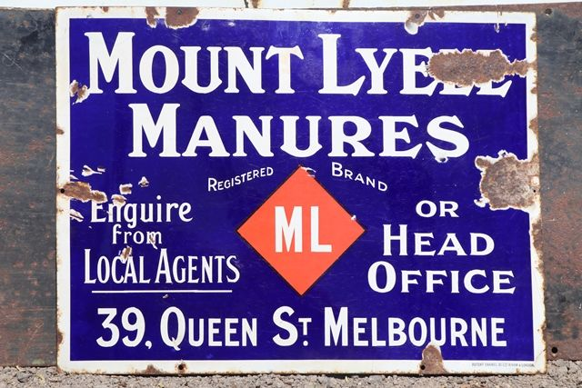 Mount Lyell Manures Enamel Sign