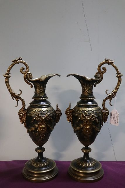A Lovely Pair Of Antique Bronze Ewers C1890