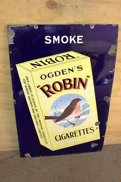 Classic Robin Cigarettes Pictorial Enamel Sign